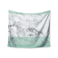 "KESS Original ""Mint Marble Fade"" White Green Wall Tapestry"