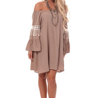 Mocha Bell Sleeve Dress with Trim Detail