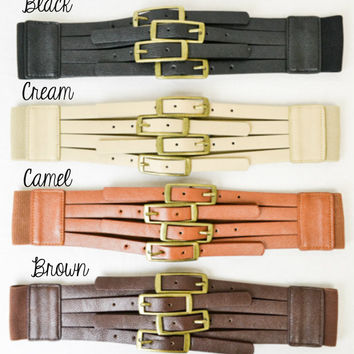Four Buckle Vintage Belt -- 4 Colors