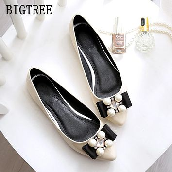 Spring and summer new PU patent leather shoes fashion diamond woman flat shoes large size soft bottom work shoes 34 35 41 42 43