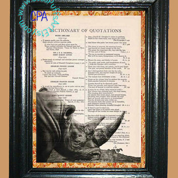African Rhino Grazing Art - - Vintage Dictionary Book Page Art-Upcycled Page Art,Wall Art,Collage Art,Mixed Media Art - Wildlife Print
