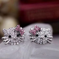 White Gold Plated with Austrian Crystals Hello Kitty Earrings