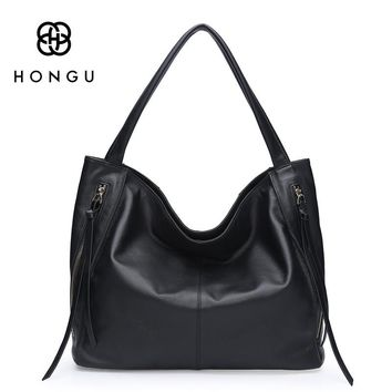 HONGU Genuine Cow Leather Hobo Bags European American Style Women Handbags Fashion Cowhide Tassel Shoulder Bag For Female Totes