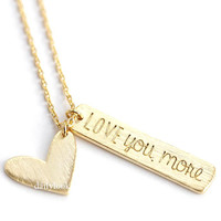 love you more necklace, heart necklace, love necklace, eternity necklace, girls necklace, woman necklace, wedding jewelry, love you more