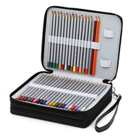 124 Pencil holder 3 larger slots Portable PU Leather School Pencils Case Large Capacity Pencil Bag For Colored Pencils