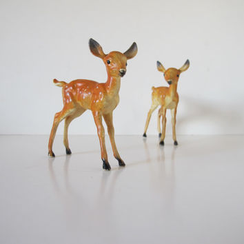 Woodland Twin Deer Pair, Fawn Lot, Vintage 1950s Animal Figurines,Tiny Miniature Animal Replicas Plastic Toy Rustic Forest Fawn Deer Figure