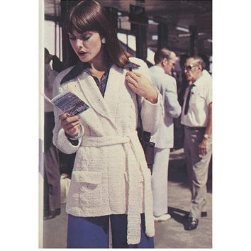 Crochet CARDIGAN Pattern Vintage 70s Cable Crochet SWEATER PATTERN Crochet Jacket Pattern Crochet Coat Pattern Instant Download