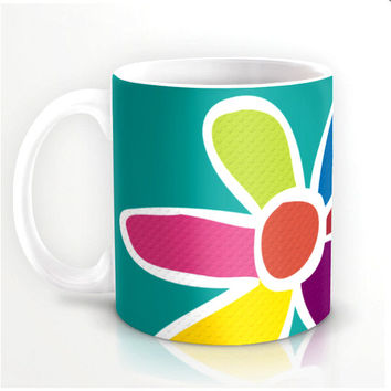 MOD COFFEE MUGS collection - buy all three or one, colorful mod design ceramic cups, contemporary kitchenware
