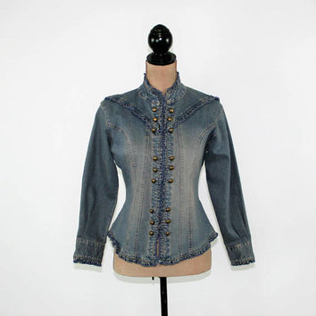 Women Jean Jacket Medium Fitted Denim Jacket Boho Steampunk Sargent Pepper Acid Wash Wrangler Vintage Clothing Womens Clothing