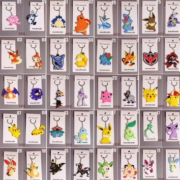 Zoeber 40pcs/set  Go Keychain Doll Toy Cute Anime Pocket Monsterr Meowth Psyduck RAICHU Pendants Rubber Keyring ChildKawaii Pokemon go  AT_89_9