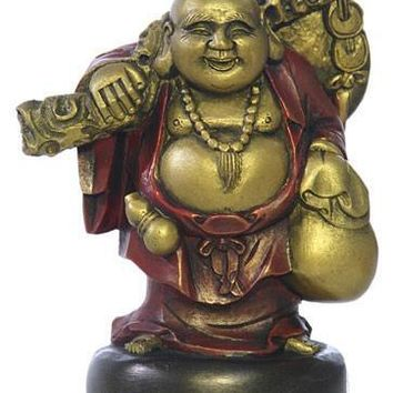Happy Buddha Ho Tai Carrying Bag of Candy Miniature Statue 4.25H