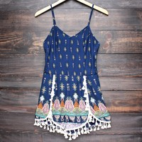 Final sale - boho romper with fringe tassels - navy