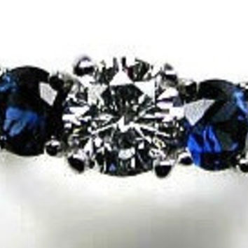 2.30ct G-SI1 Round Diamond & Sapphire Engagement Ring Platinum JEWELFORME BLUE GIA