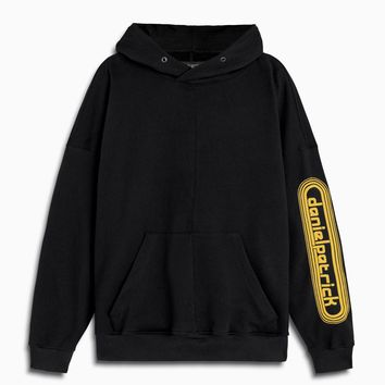 dp retro hoodie / black + yellow