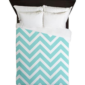 Duvet Cover   Aqua Chevron Duvet Cover   Glamour Decor   Fashion Decor    Dorm Decor