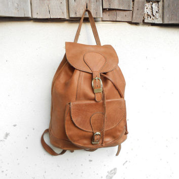 Vintage Brown Leather Backpack , Leather Rucksack // Medium