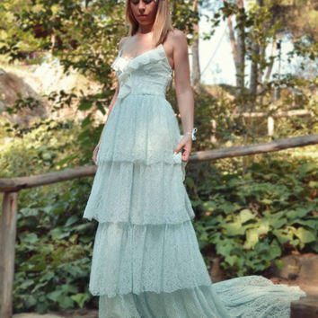 Lace Bohemian Wedding Dress Boho Bridal Dress Long Wedding Gown Minty Pale Blue Wedding Dress - Handmade by SuzannaM Designs