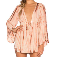 Boho Sleeve Deep V Romper in Agave Sunset