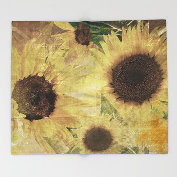 Wallflowers Throw Blanket by Theresa Campbell D'August Art