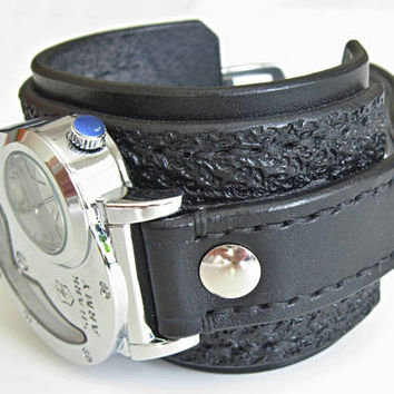 Mens Steampunk Dual Time Watch & Black Watch, Handmade Strap, Steampunk Watch, Dual Time Watch