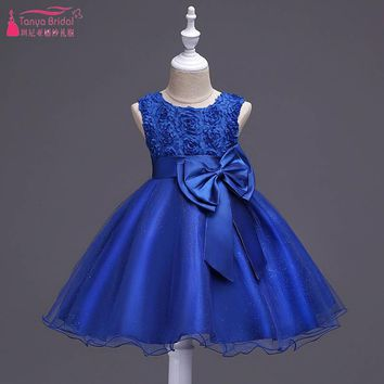 Blue Rose Flower Ball Gown For Girls Wedding Party Dresses With Bow Flower Girls Dresses robe mariage fille Real In Stock ZF019