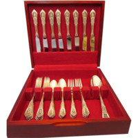 Wallace Rose Point Sterling Flatware Set For Eight