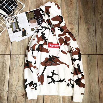 Supreme Fashion Embroidery Pullover Top Sweater Sweatshirt Hoodie