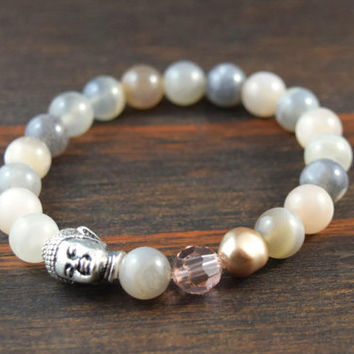 Moonstone Bracelet. Women's Beaded Bracelet. Buddha Jewelry. Women's Yoga Bracelet. Women's Fashion. Zen Accessories. Lotus & Lava Bracelet