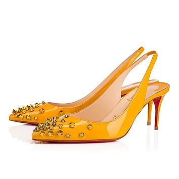 Christian Louboutin Cl Drama Sling Topaz/metal Yellow Patent Leather 18w Pumps 3180437y131 -