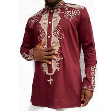 African Fashion Ethnic Printed Dashiki Claret Shirt Men Traditional African Clothes Men Long Sleeve Button Collar Shirt 2XL 3XL