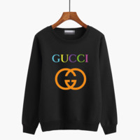 """Gucci"" Unisex Casual Multicolor Logo Letter Print Couple Thickened Long Sleeve Sweater Tops"