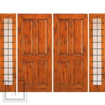 Prehung Double Door with Two Sidelites, Entry, Knotty Alder 4-Panel