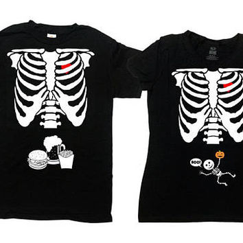Halloween Couples Costume Pregnant Skeleton T Shirt Ribcage TShirt Halloween Outfit Expecting Mother Dad To Be Mens Ladies Tee - SA844-474