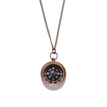 Black Dial Small Antiqued Compass Necklace for Men
