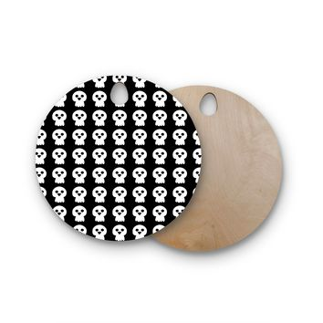 "bruxamagica ""Cute Halloween Skull"" Black White Illustration Holiday Pattern Round Wooden Cutting Board"