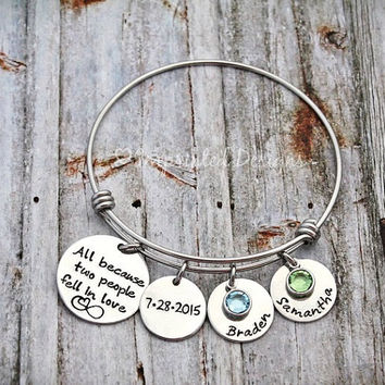 Alex and Ani Style Bracelet - All Because Two People Fell In Love - Mom - Hand Stamped - Personalized - Wedding - Anniversary
