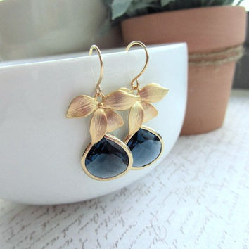 A Matte Gold Plated Orchid Flower Dark Sapphire Blue Glass Framed Jewel French Drop Earrings.  Bridesmaid Gifts. Modern Everyday Jewlery