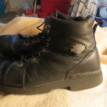vtg  Mens Leather Motorcycle Boots 9 1/2 - Harley Davidson Biker Boots -  Combat Boots 9 1/2