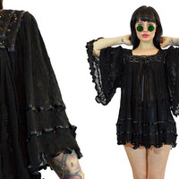 vintage 70s gauzy ultra draped tunic ruffled bell sleeve hippie boho oversized shirt top blouse priaire gypsy black crochet small