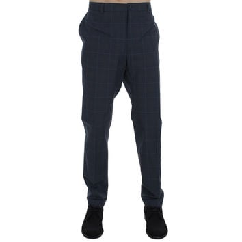 Dolce & Gabbana Blue Checkered Slim Fit Pants
