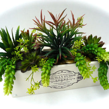 Succulent Arrangement (Artificial) in Rustic Wooden Planter - Table Centerpiece, Decorative Succulent Arrangement