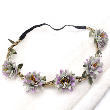 M MISM New Woman Flower Headband Bride Wedding Hair Bands Accessories Girls Bohemian Garland Summer Beach Head Bands Headdress