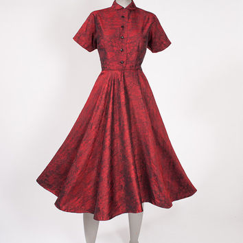 1950s Cranberry Red Dress - Vintage Fit and Flare Brocade Wide Skirt Nipped Waist
