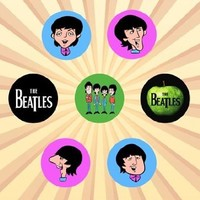 The Beatles Cartoon Set of 7 - 1 Inch Pinback Buttons