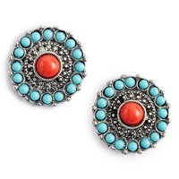 Junior Women's BP. Stone Medallion Post Earrings - Turqouise Multi