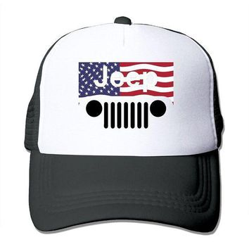 Jeep American Flag Logo Mesh Trucker Caps/hats Adjustable For Unisex Black
