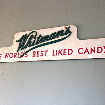 Vintage Sign Whitman's World's Best Liked Candy Distressed Wood Red Green White Signage Typography Graphics