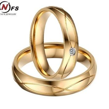 NFS 1 Pair Gold Color Custom Alliance Stainless Steel Wedding Bands Couples Rings Sets For Him And Her Anillos De Boda Anel Ouro