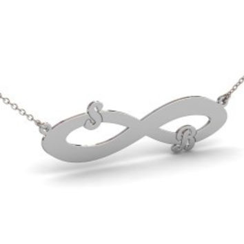 Sterling Silver Double Initials Infinity Necklace