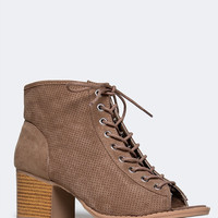 PERFORATED LACE UP BOOTIE